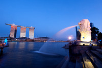 Marina Bay Sands and Merlion, Singapore.