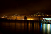 """bay lights"" ""bay bridge"" oakland ""san francisco"" california night ""Leo Villareal"" ""light sculpture"" cityscape colours colors reflection"